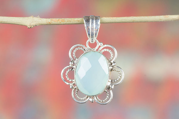 Wonderful Faceted Aqua Chalcedony Gemstone Pendant
