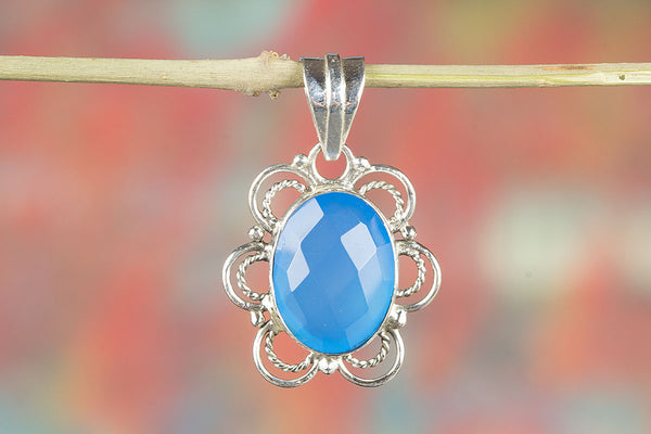 Stunning Faceted Blue Chalcedony Gemstone Pendant
