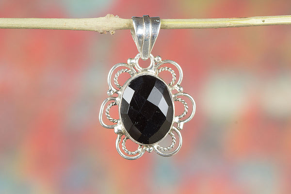 Faceted Black Onyx Gemstone  Sterling Silver Pendant