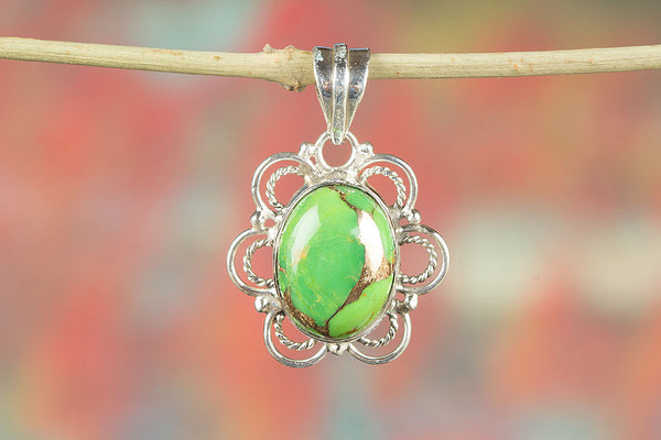 Green Turquoise Gemstone Sterling Silver Pendant