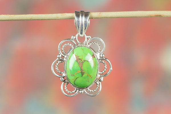 Wonderful  Green Turquoise Gemstone Silver Pendant