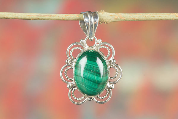 Sterling Silver Malachite Gemstone Pendant