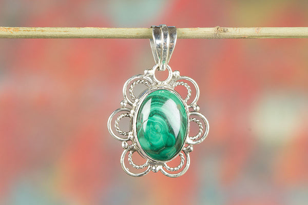 Natural Malachite Sterling Silver Pendant
