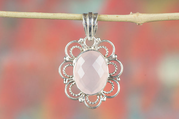Stunning Faceted Rose Quartz Gemstone Sterling Silver Pendant