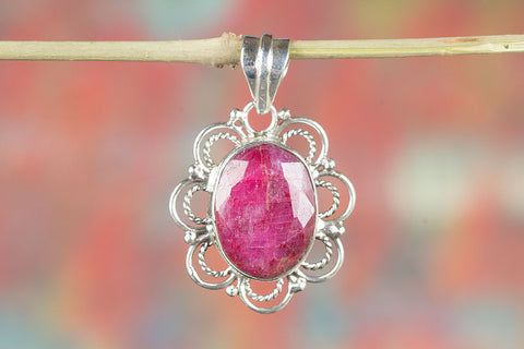Solid  Ruby Gemstone Sterling Silver Pendant