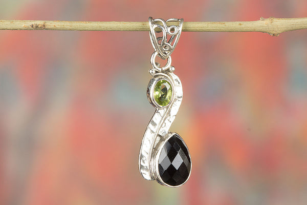 Faceted Black Onyx Gemstone Pendant With Silver