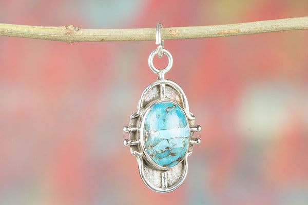 Natural Blue Copper Turquoise Silver Pendant