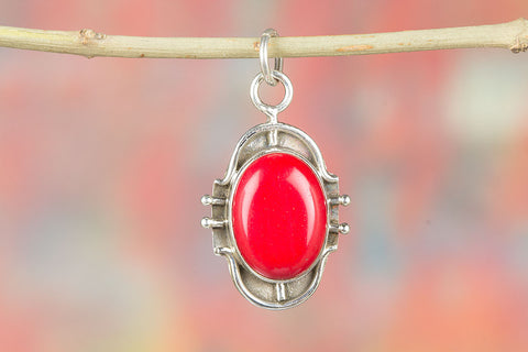 Amazing  Sterling Silver Coral Gemstone Pendant