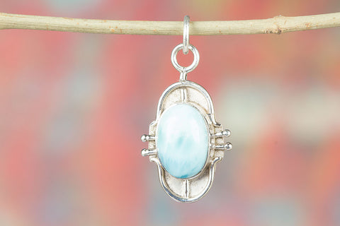 Awesome Sterling Silver Larimar Gemstone Pendant