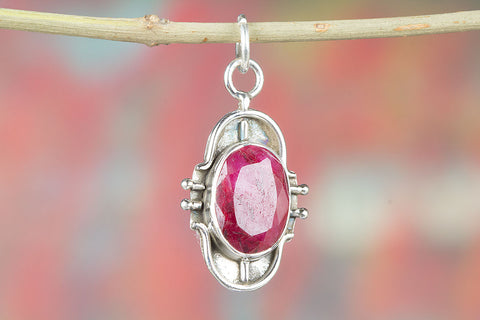 Awesome Ruby Gemstone Pendant, 925 Sterling Silver Pendant, Gift Jewelry, Faceted Stone Pendant, Gift Her