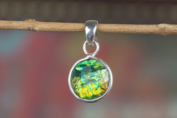 Faceted Multipal Fire Opal Lab Silver Pendant