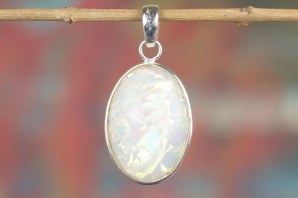 Faceted Fire Opal Lab Silver Pendant