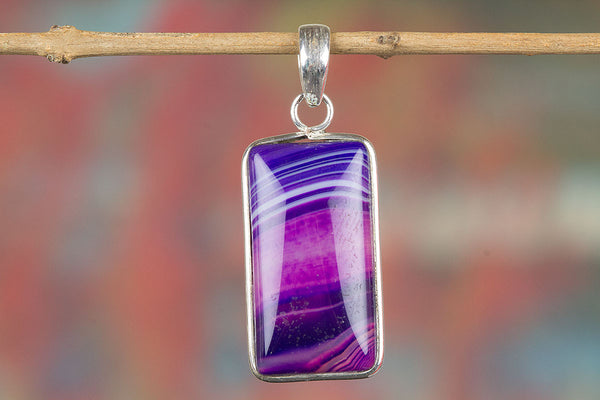Purple Botswana Agate Gemstone Pendant