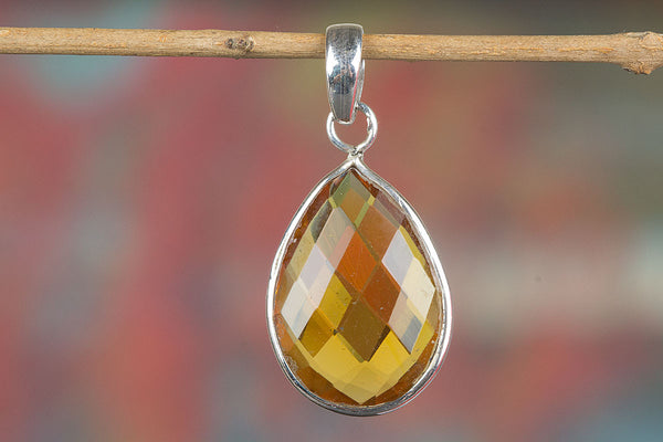 Faceted Yellow Chalcedony Lab Silver Pendant
