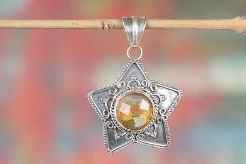 Citrine Gemstone Sterling Silver Pendant