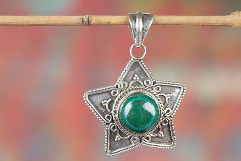 Wonderful Malachite Gemstone  Sterling Silver Pendant