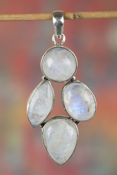 Multi Rainbow Moonstones Gemstone Sterling Silver Pendant