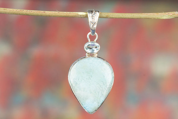 Wonderful Natural Larimar Gemstone Sterling Silver Pendant,