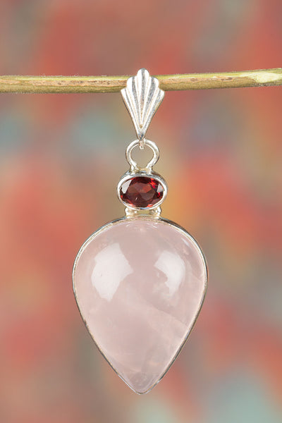 Awesome Sterling Silver Rose Quartz Gemstone Pendant,
