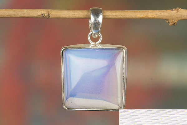 Glass Multi Gemstone Silver Pendant,