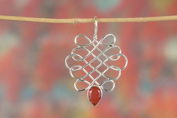 Faceted Carnelian Gemstone Sterling Silver Pendant,