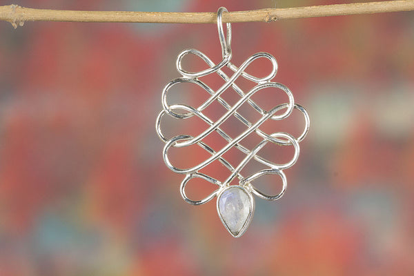Faceted Rainbow Moonstone 925 Sterling Silver Pendant