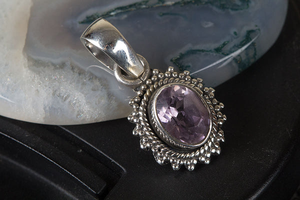 Amazing Sterling Silver Faceted Amethyst Gemstone Pendant
