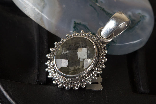 Faceted Green Amethyst Gemstone Sterling Silver Pendant