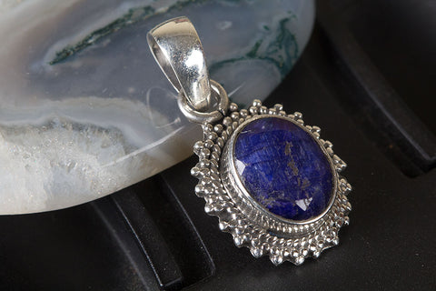 Amazing Sterling Silver Sapphire Gemstone Pendant