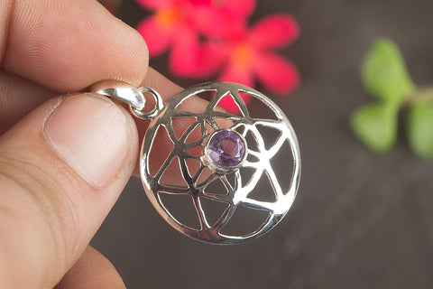 Amazing Faceted Amethyst Gemstone Sterling Silver Pendant