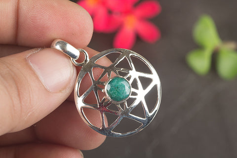 Amazing Emerald Gemstone Sterling Silver Pendant
