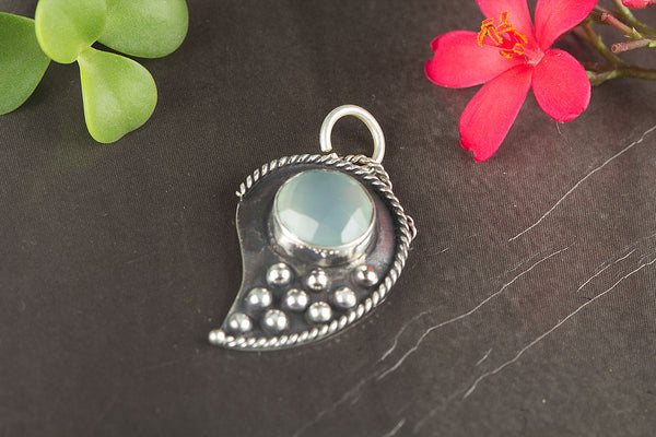 Faceted Aqua Chalcedony Gemstone Sterling Silver Pendant