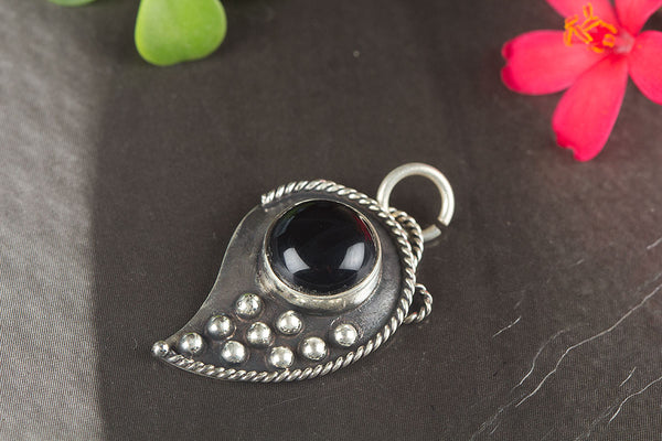 Beautiful Faceted Black Onyx Gemstone Sterling Silver Pendant