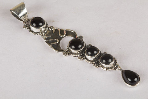 Wonderful Black Onyx Gemstone Sterling Silver Pendant