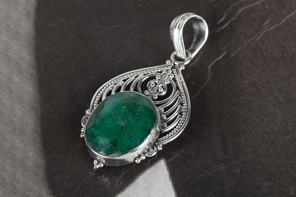 Emerald Pendant, 925 Sterling Silver, Cabochons Pendant, May Birthstone, Authentic 925 Silver
