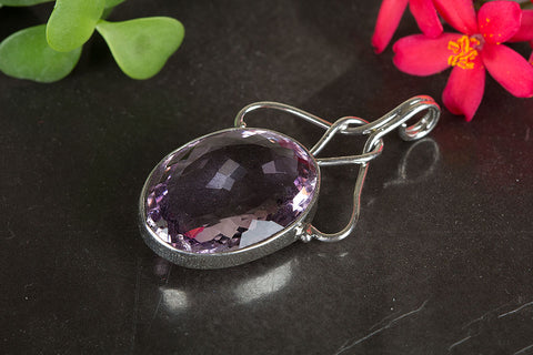 Amethyst Pendant, 925 Sterling Silver,Faceted Amethyst Pendant , Purple Amethyst, Wedding Gift