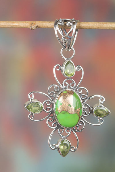 Stunning Green Turquoise Gemstone Sterling Silver Pendant,