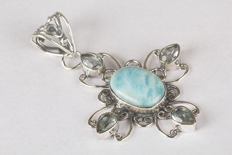 Awesome Larimar Gemstone Sterling Silver Pendant