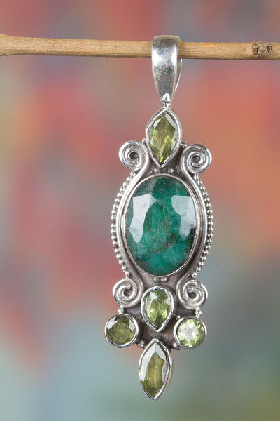 Beautiful  Emerald Gemstone Pure Sterling Silver Pendant,