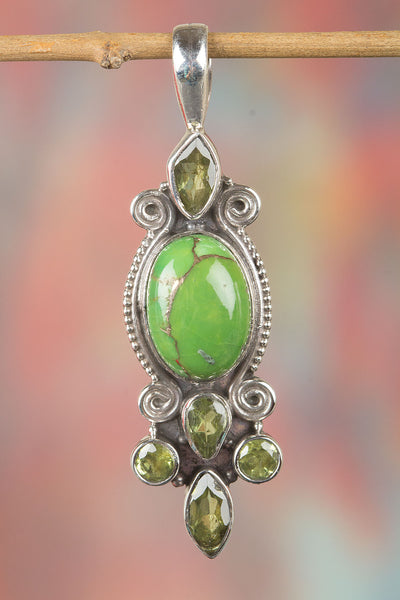 Natural Green Turquoise Gemstone Silver Pendant,