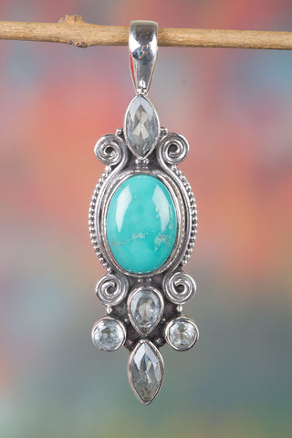 Amazing  Sterling Silver Natural Turquoise Gemstone Pendant,