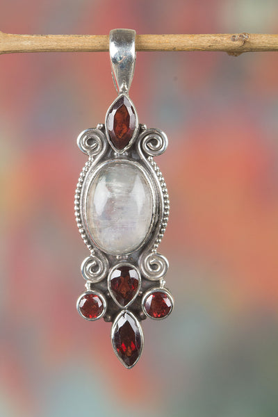Sterling Silver Rainbow Moonstone Pendant,