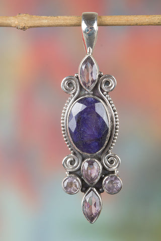 Awesome Sterling Silver Sapphire Gemstone Pendant,