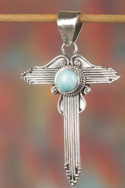 Awesome Sterling Silver Larimar Gemstone Pendant,