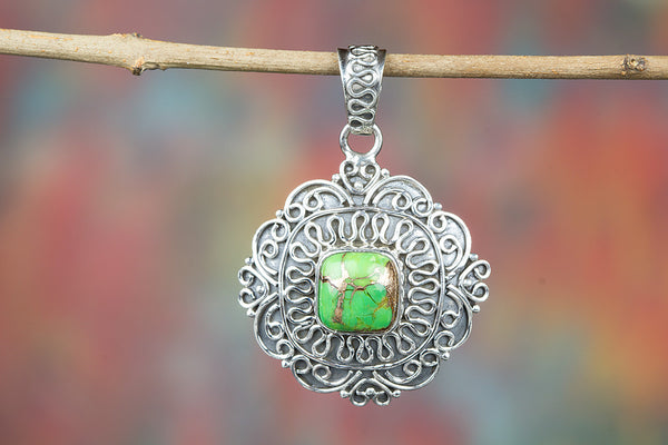 Green Turquoise Gemstone 925 Silver Pendant