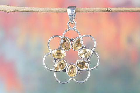 Faceted Citrine Gemstone Silver Pendant