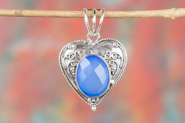 Faceted Blue Chalcedony Gemstone Silver Pendant
