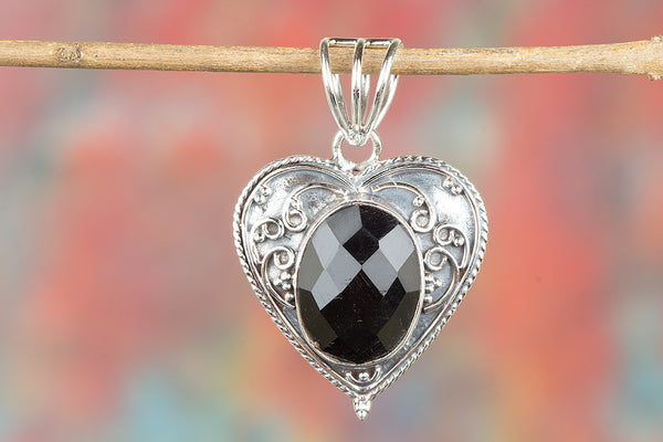 Faceted Black Onyx Gemstone Silver Pendant