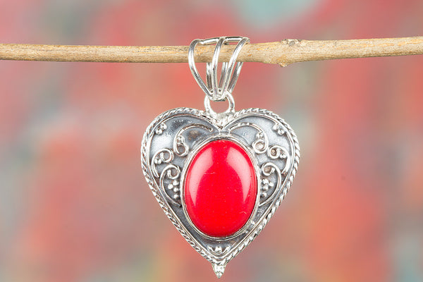 Beautiful Coral Gemstone 925 Silver Pendant