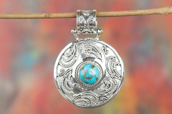 Awesome Blue Copper Turquoise Gemstone Sterling Silver Pendant